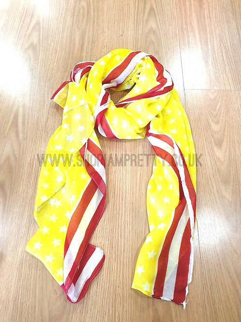 Yellow Stars & Stripe Scarf