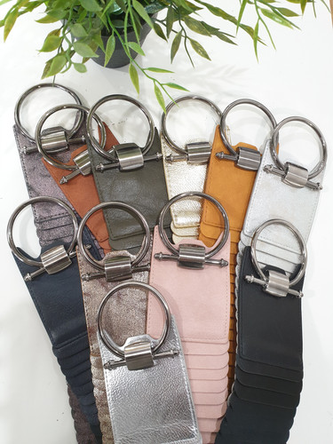Wide Faux Leather Stretch Belt