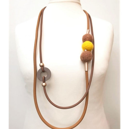 Tan Rubber Wool Bead Necklace
