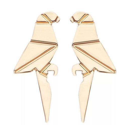 Origami Parrot Gold Stud Earrings