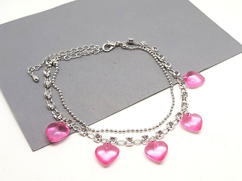 Pink Heart Diamante Bracelet