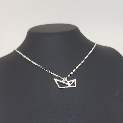 Origami Boat Silver Necklace
