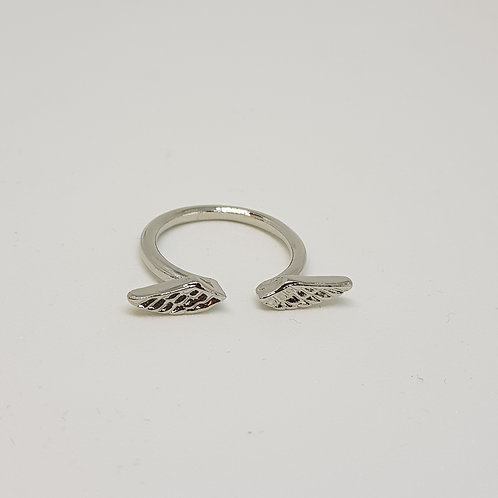 Angel Wing Silvertone Ring