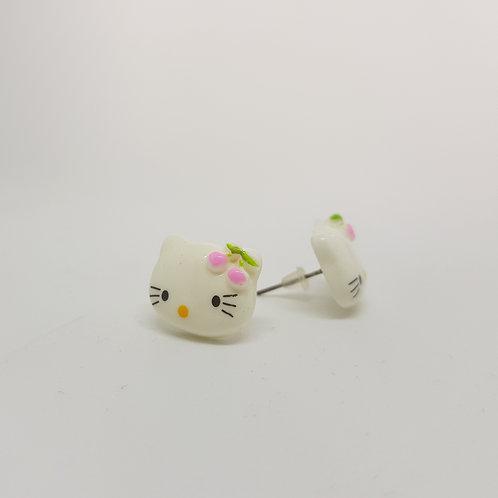 Pink Cherry Bow Hello Kitty Stud Earrings