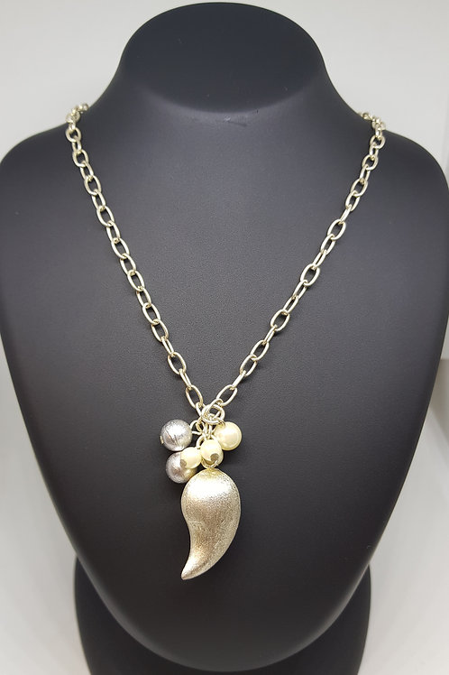 Pearl Silver Charm Necklace