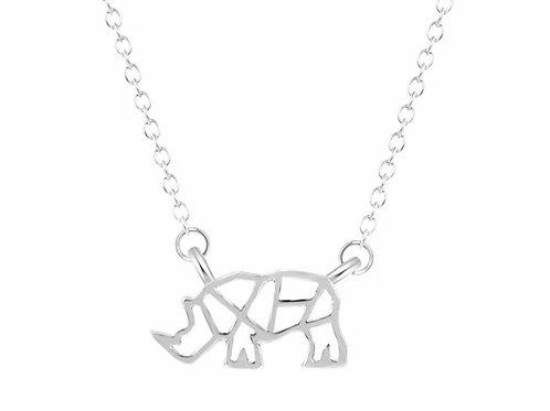 Geometric Rhino Silver Necklace