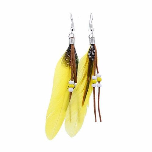 Yellow Feather Drop Earrings