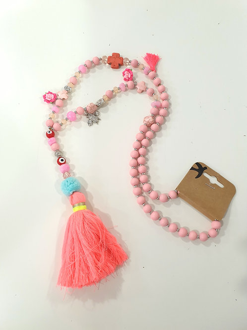 Pink Flower Charm Boho Necklace