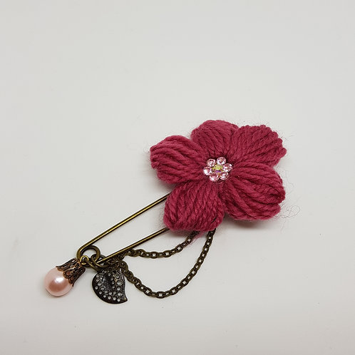 Pink Knitted Flower Brooch
