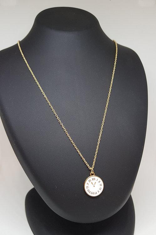 Clock Pendant Gold Necklace