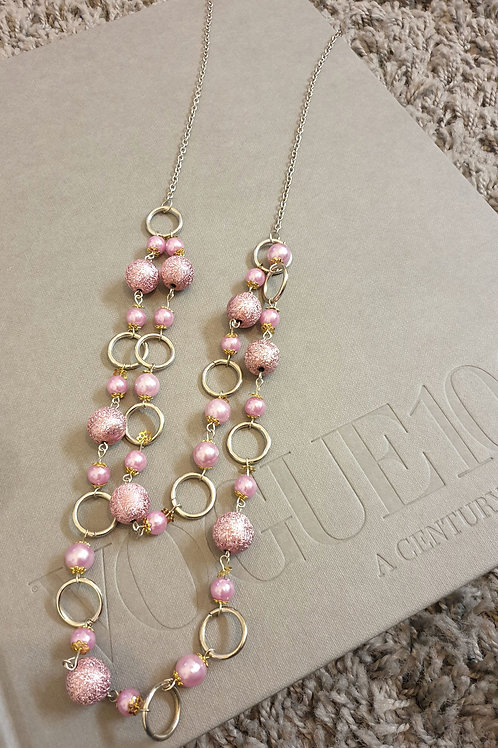 Pink Textured Bead Silver Ring Necklace