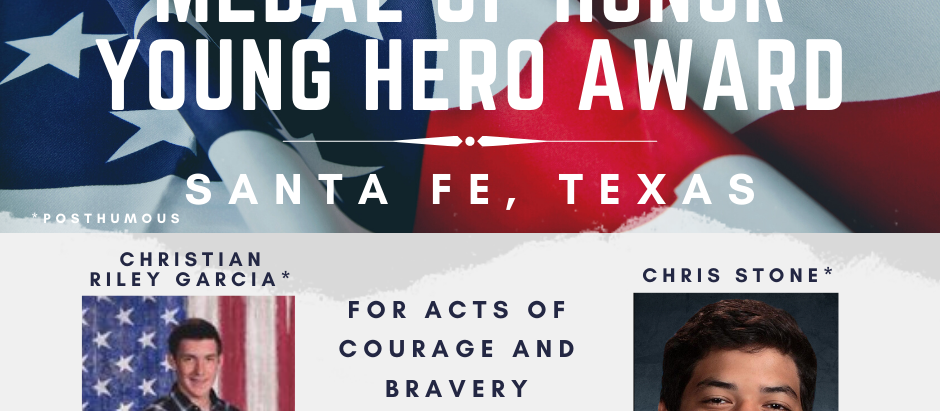 Christian Riley Garcia and Chris Stone Families Accept Young Hero Award