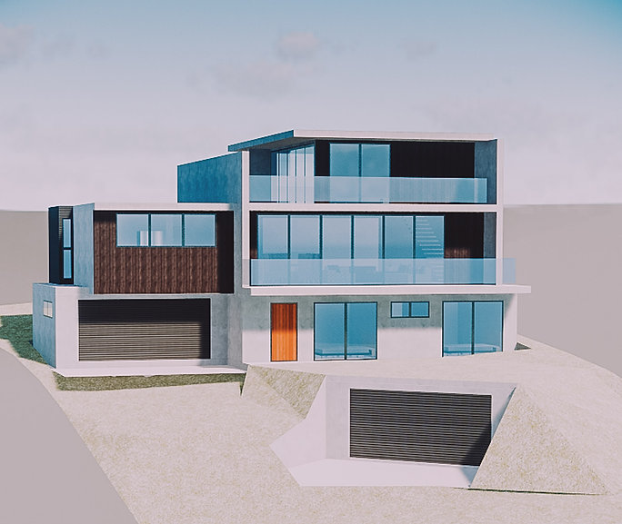 four storey house, garage built into cliff, three storeys of living area, digital render,