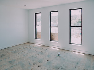 Media Room with easy jamb square set windows