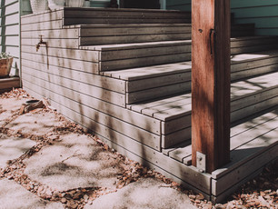 Timber deck steps require to meet the flood planning level for Eurobodalla Shire council