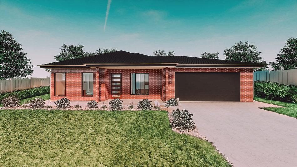 Red Brick House, single storey, digital render, three large windows, one glass door, black roller garage door