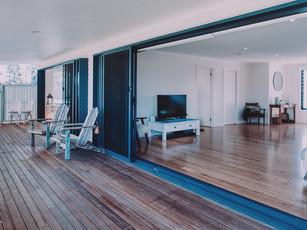 Stacker doors on to deck giving indoor outdoor connection