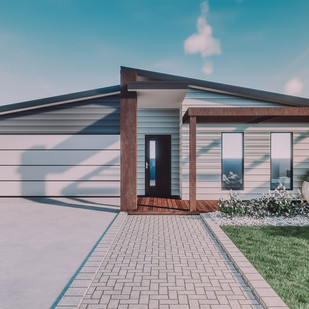 Architect render of simple low budget modern 3 bedroom