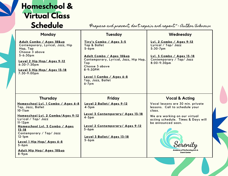 Virtual and Homeschool Schedule