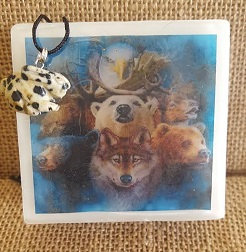Totem Animal Soap with Carved Gemstone Necklace