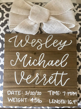 Wooden Newborn Sign