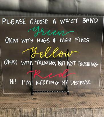 Wristband Wedding Sign (COVID friendly)