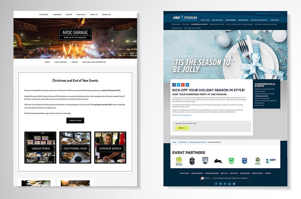 grabs of websites on grey background