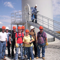 Wind farm tower climbers.