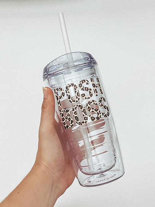 POSH BOSS / Leopard Print Tumbler with Straw