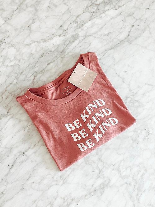 be kind / raw hem tee