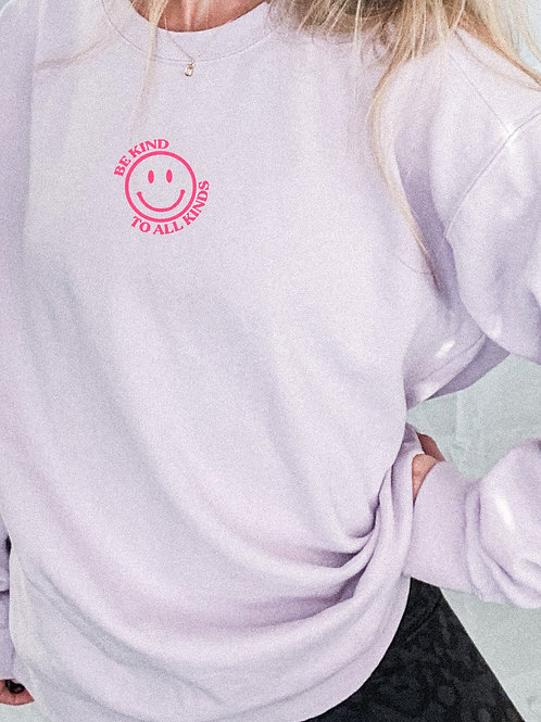 be kind to all kinds / smiley face crewneck