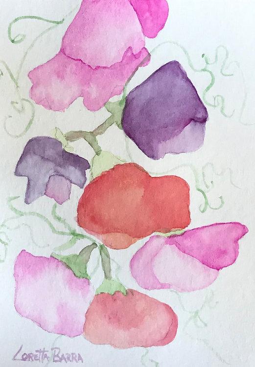 Sweet Peas Original Watercolor Card