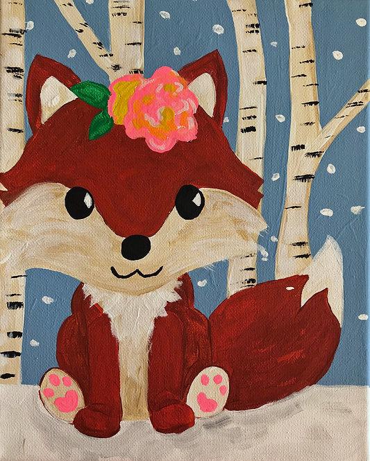 Fox in Birch Trees