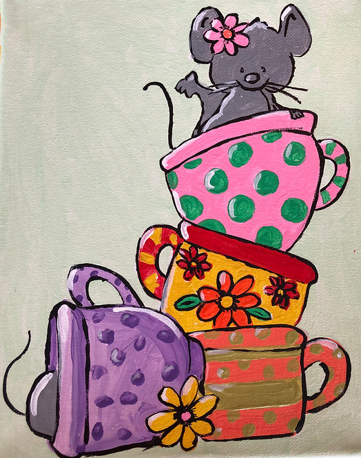 Mice in Tea Cups Paint Party