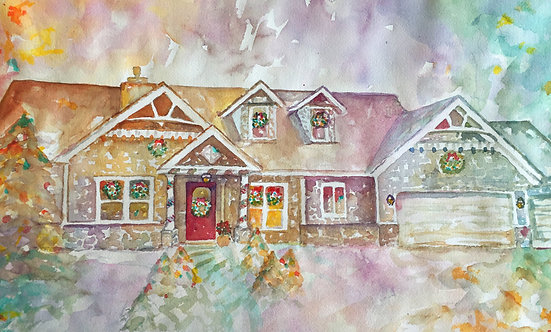 Watercolor House for Christmas
