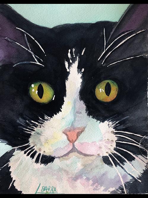 "Watercolor of Mixie  8""x10"" 300lb. paper"