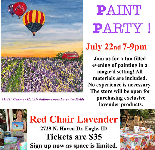 Red Chair Lavender Paint Party