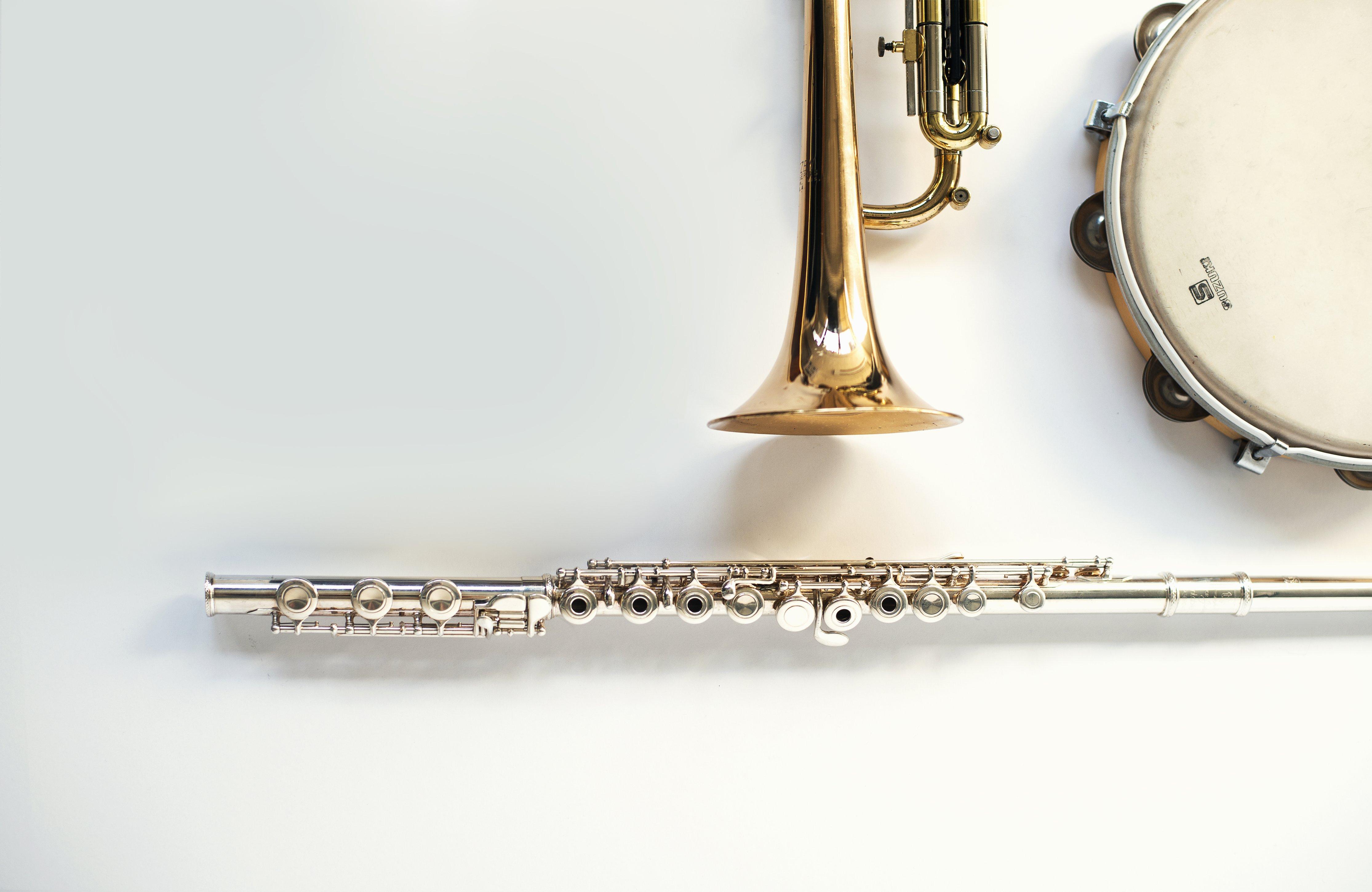 trumpet-tamborine-and-flute-instruments-