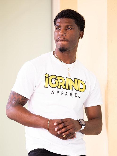 "iGrind White T-shirt ""Yellow/Black"" Varsity Design"