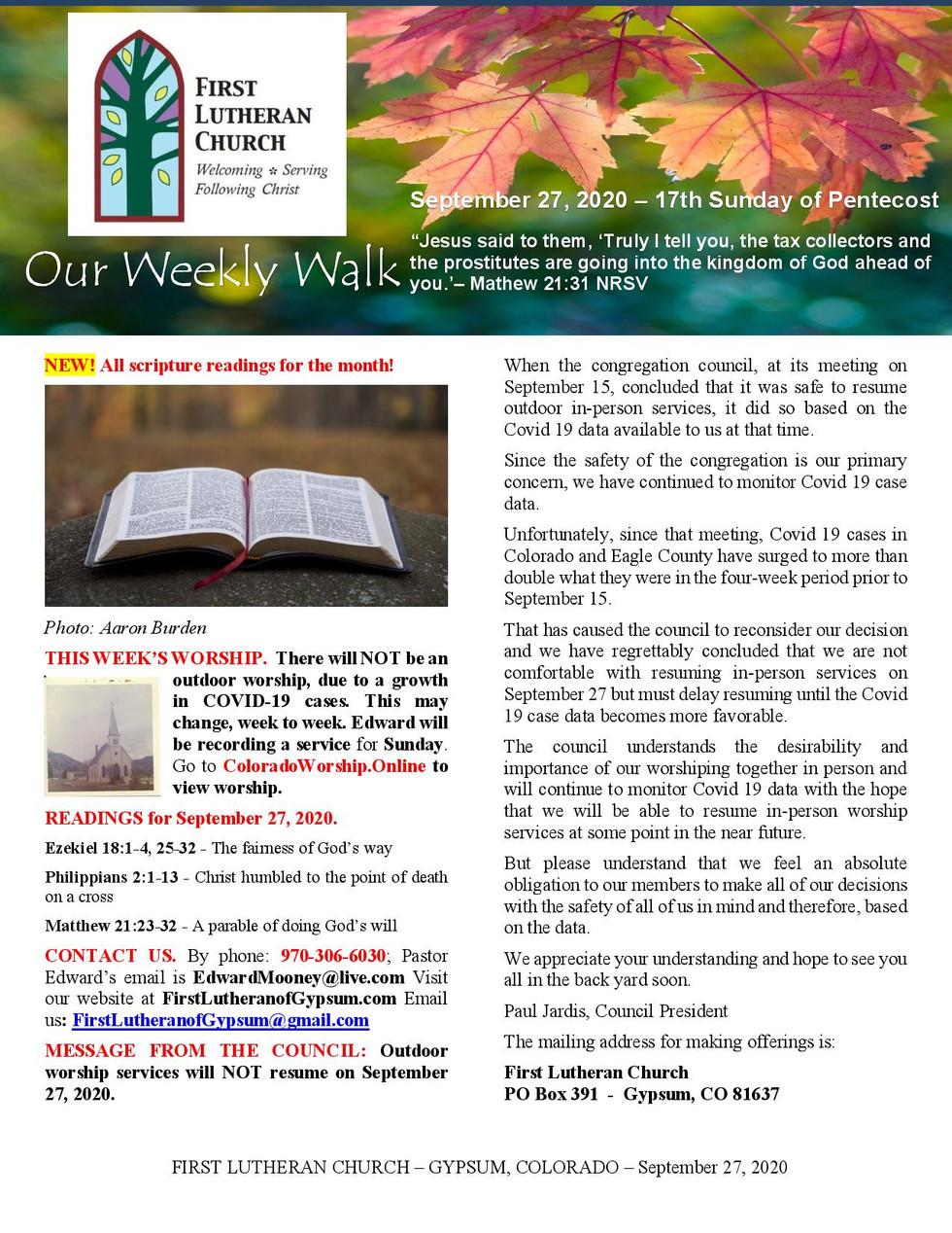 Newsletter, September 27, 2020, page 1