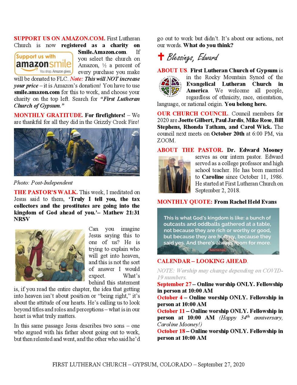Newsletter, September 27, 2020, page 2