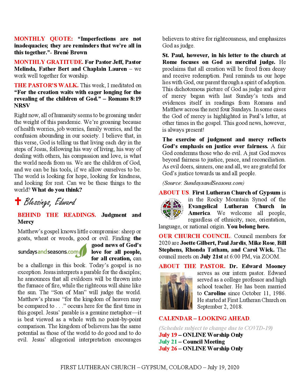 Newsletter, July 19, 2020, page 2
