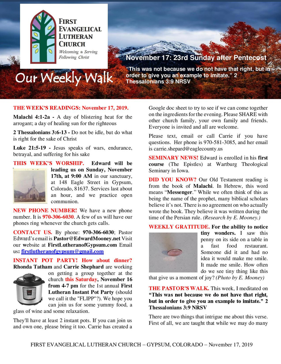 Newsletter - November 17, 2019, page 1