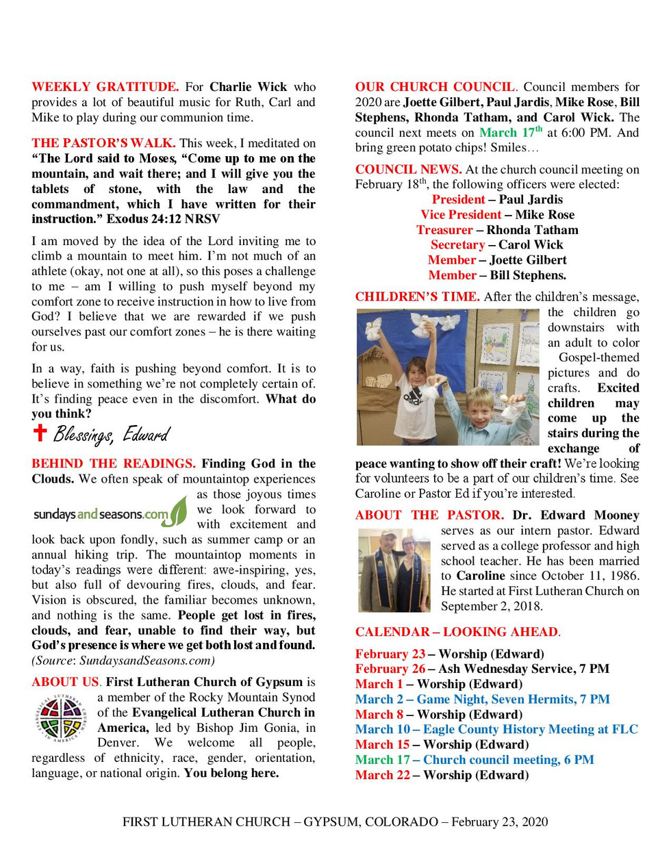 Newsletter, February 23, 2020, page 2