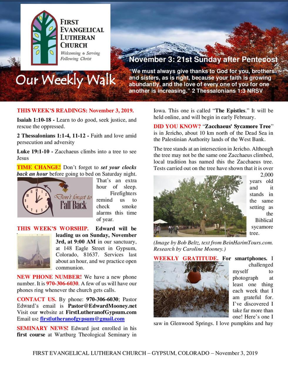 Newsletter - November 3, 2019, Page 1