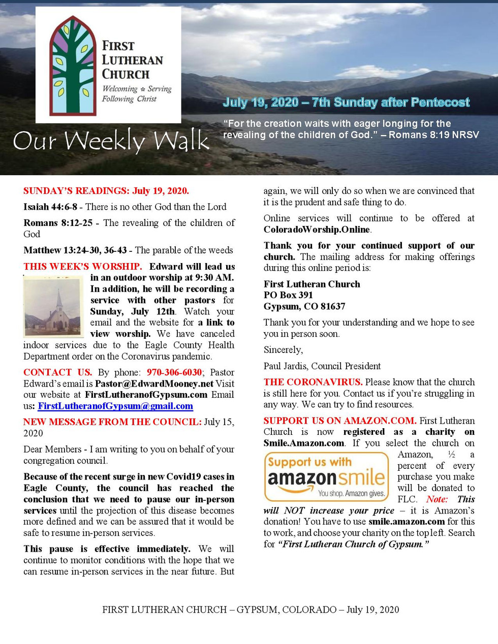 Newsletter, July 19, 2020, page 1