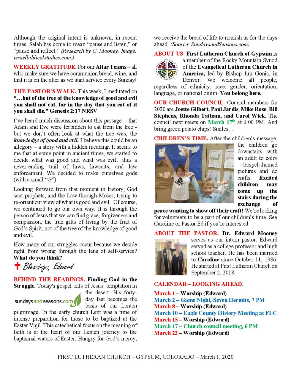 Newsletter, March 1, 2020, page 2