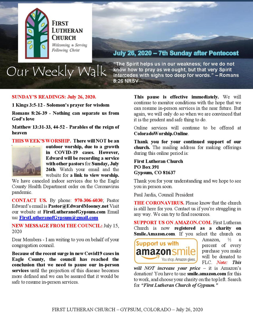 Newsletter, July 26, 2020, page 1