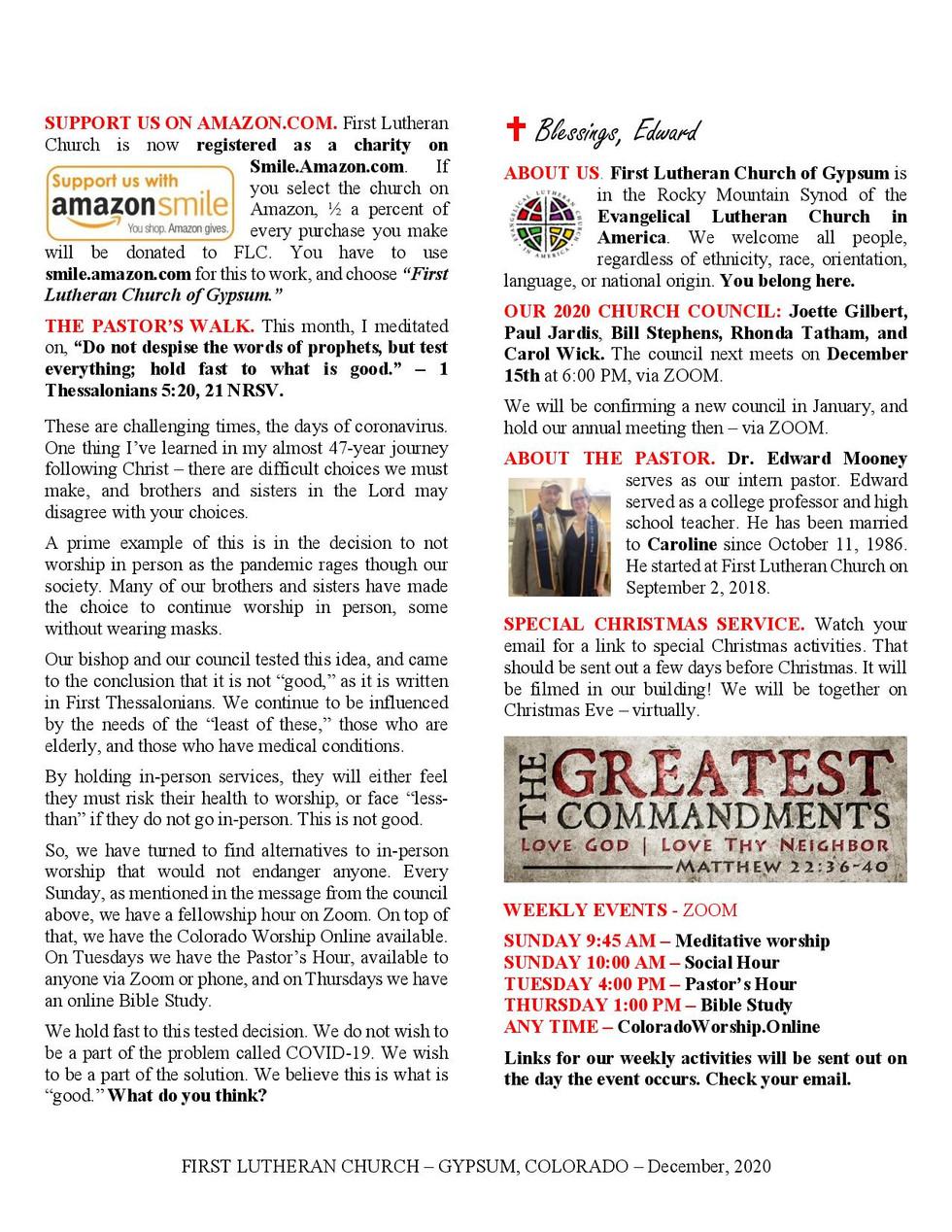 Newsletter, December, 2020, page 2
