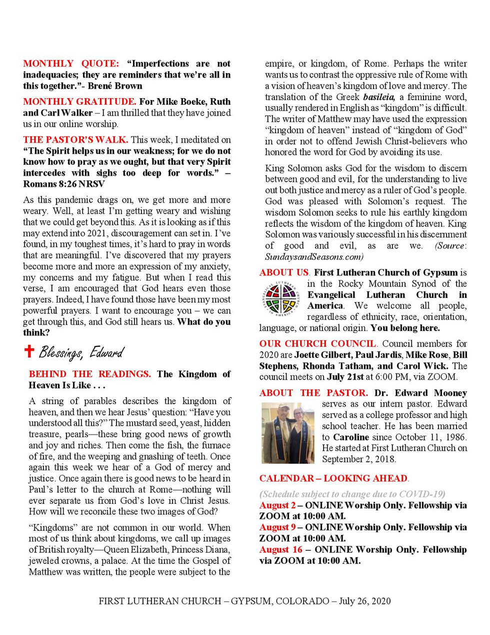 Newsletter, July 26, 2020, page 2